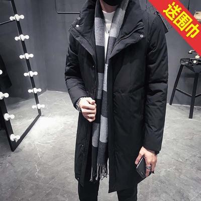 《大货送围巾》中长款立领白鸭绒羽绒服男黑色JP315-1-15558-P275