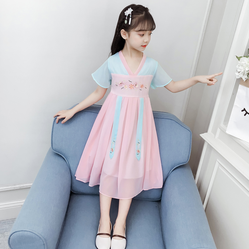 Girls' and children's Hanfu, ancient dress, Ru skirt, children's and women's Chinese style summer dress, middle and big children's ancient style, little girl's super Fairy Dress