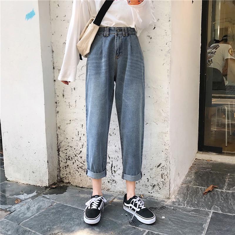 秋装女装韩版宽松复古水洗做旧牛仔裤高腰显瘦阔腿裤直筒裤九分裤