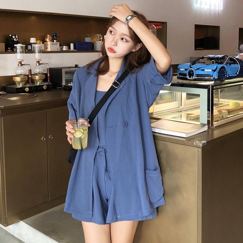 韩版时尚休闲套装夏季女装吊带上衣+西装外套+高腰阔腿短裤三件套