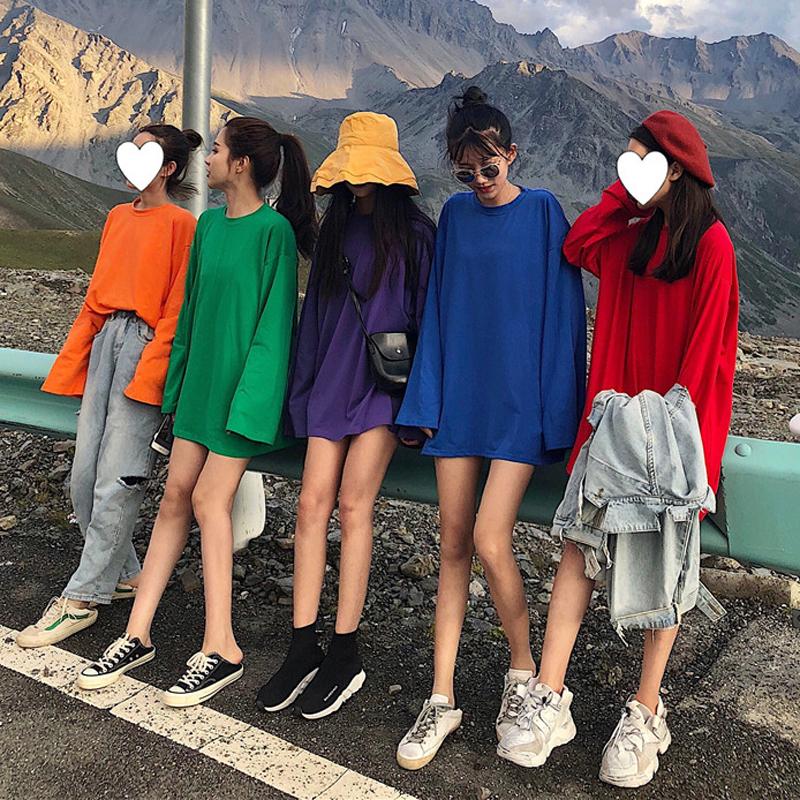 秋装女装韩版宽松百搭纯色圆领T恤中长款长袖休闲显瘦体恤上衣潮