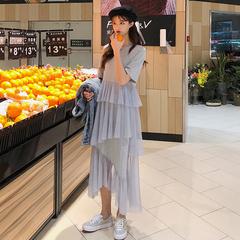 春装2019款女装韩版圆领短袖长款不规则网纱拼接T恤连衣裙长裙子