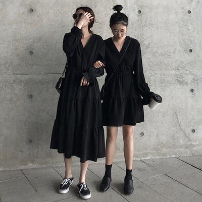 2019年夏季新款收腰雪纺连衣裙女士黑色洋气流行长裙气质显瘦裙子