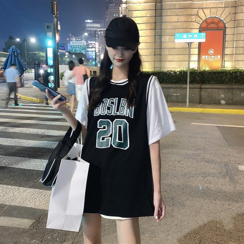 蓝球服女宽松bf风韩版夏季2021新款中长款短袖t恤假两件ins潮上衣