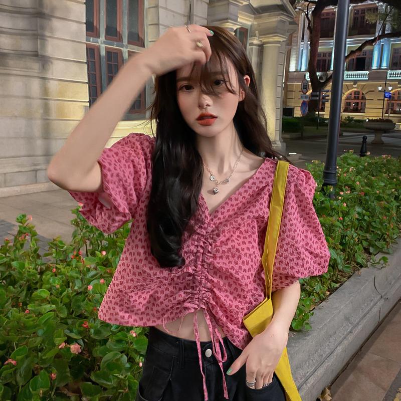 甜辣风炸街夏季2021新款泡泡袖衬衣