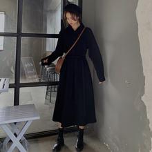 2019秋季新款韩版过膝中长款衬衫裙气质显瘦雪纺连衣裙黑色裙子女
