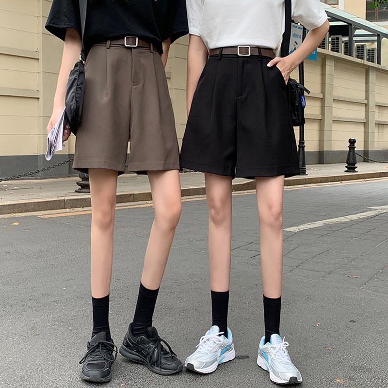 西装工装短裤女夏季薄款阔腿裤五分裤高腰a字裤宽松小个子中裤子