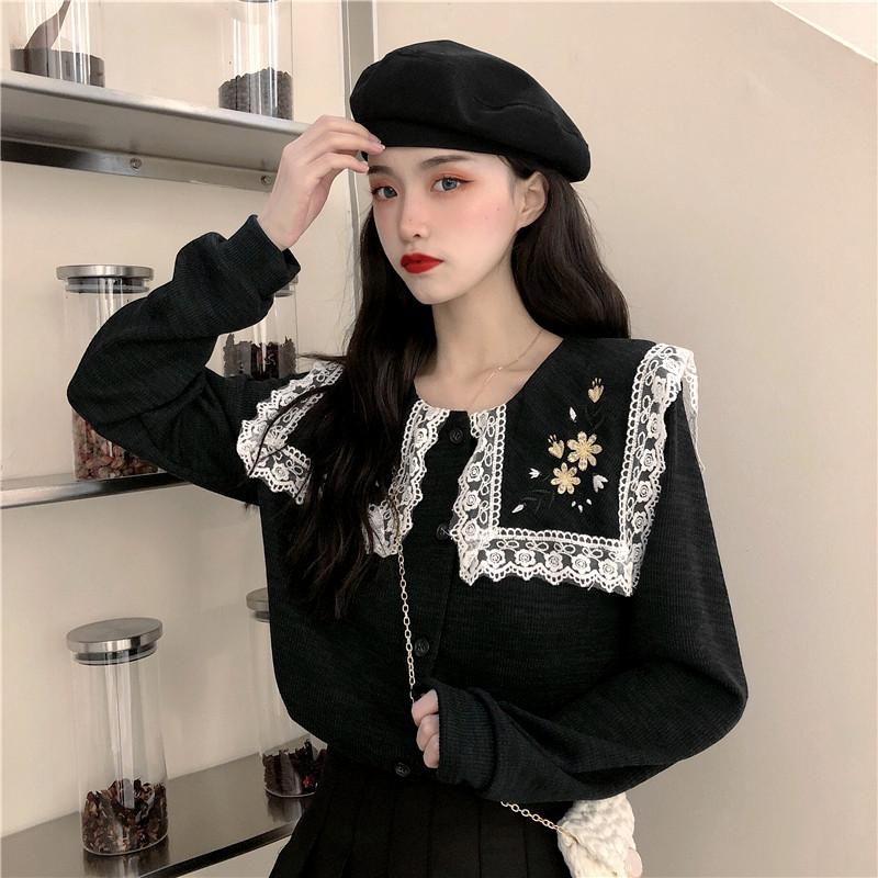 秋冬2019新款甜美法式蕾丝花边海军领花朵刺绣宽松长袖针织开衫女