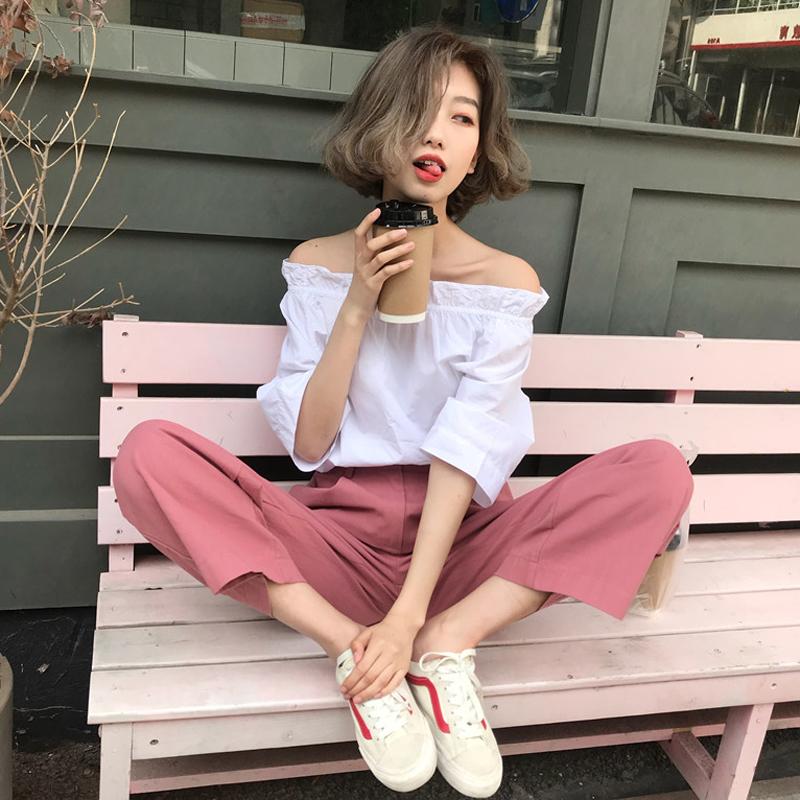 韩版时尚休闲套装夏装女装一字领短袖衬衣+宽松阔腿九分裤两件套