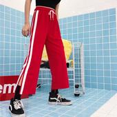 夏装女装韩版高腰条纹阔腿裤开叉九分裤休闲裤显瘦学生直筒裤长裤
