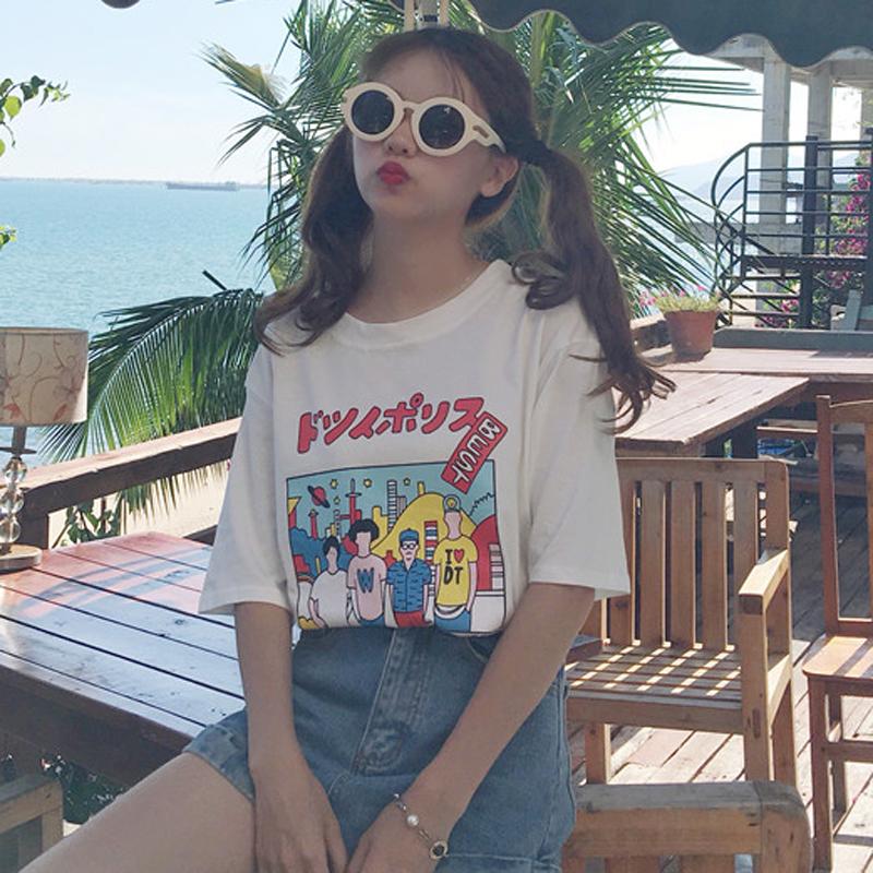 春夏女装韩版宽松可爱少女卡通印花圆领短袖T恤学生上衣打底衫潮