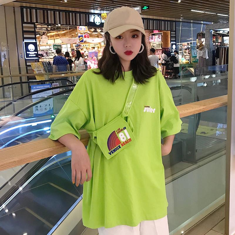 夏装女装韩版中长款简约字母印花宽松显瘦五分袖短袖T恤上衣+挎包