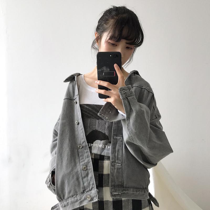 春秋女装韩版宽松复古短款牛仔外套百搭学生休闲长袖工装短款夹克