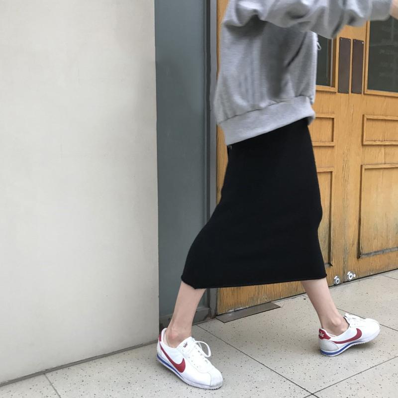 韩版时尚休闲套装秋季连帽宽松套头卫衣外套+针织半身裙两件套女