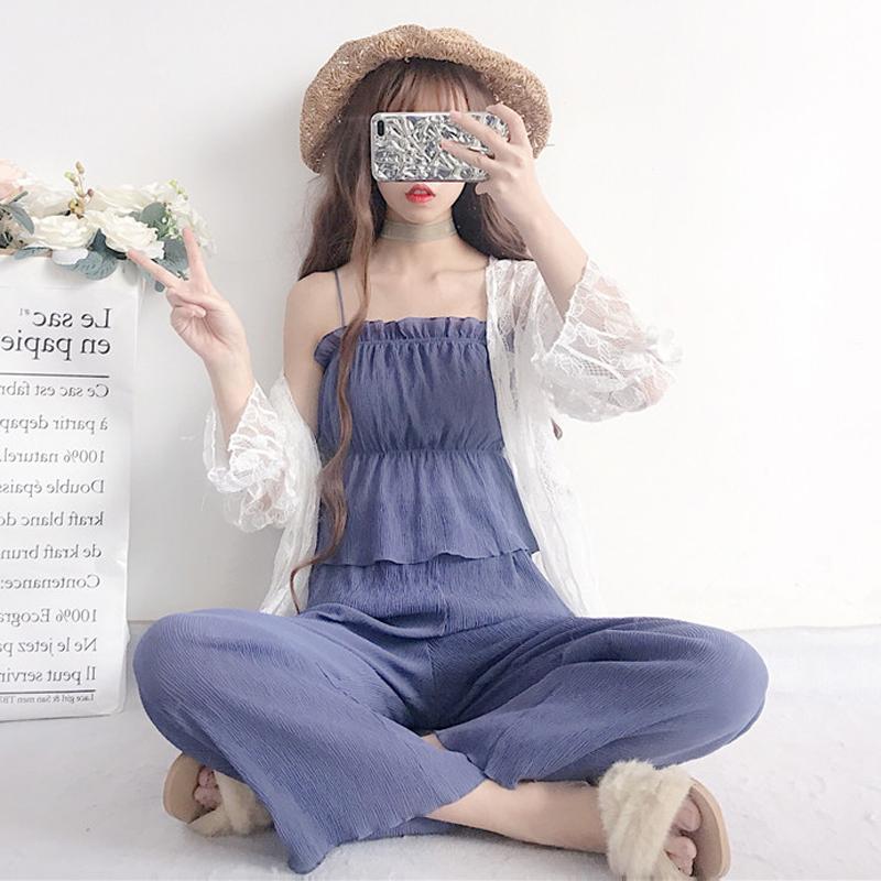 韩版时尚休闲套装夏装女装收腰小吊带+阔腿裤九分裤两件套+防晒衣