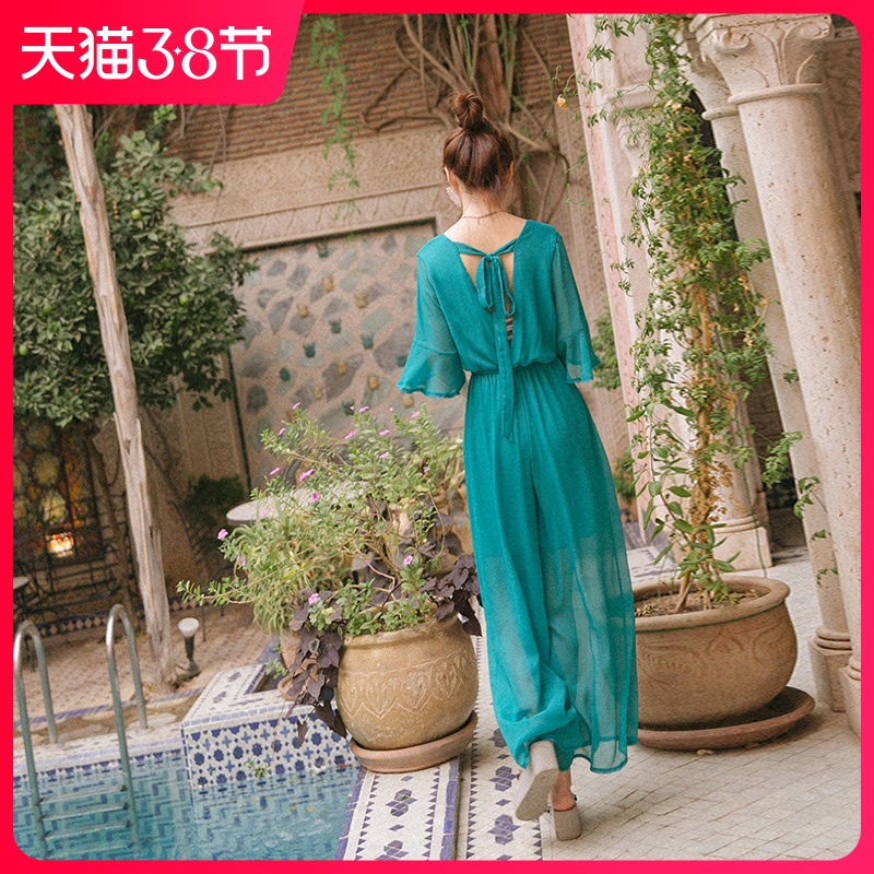 Jumpsuit female summer 2021 new wave seaside vacation bohemian wide leg pants high waist slim chiffon beach pants