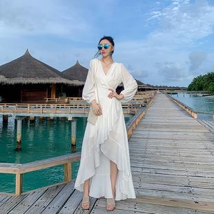 沙滩裙女2019新款 超仙巴厘岛海边度假白色长裙波西米亚显瘦连衣裙
