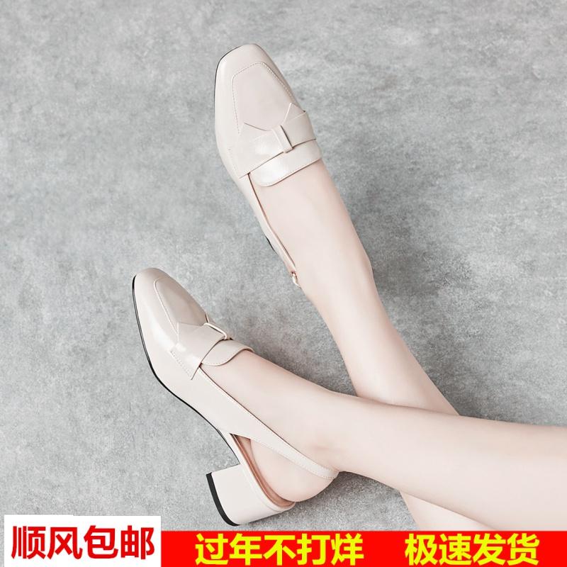 2019夏季新款韩版方头蝴蝶结高跟鞋粗跟包头中跟搭扣凉鞋女鞋子