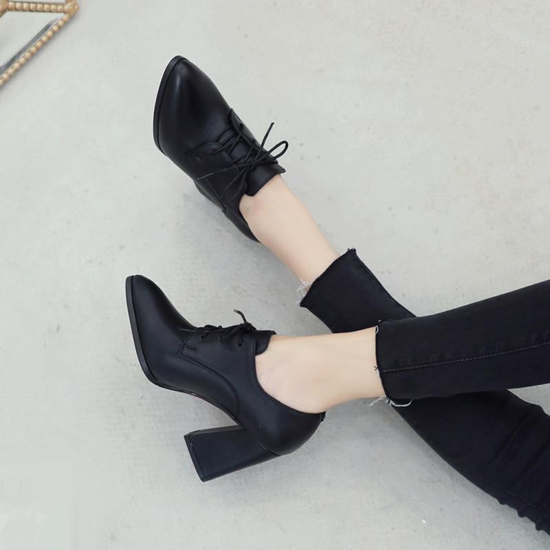 欧美尖头粗跟高跟鞋深口系带单鞋女鞋大码英伦风黑色小皮鞋工作鞋