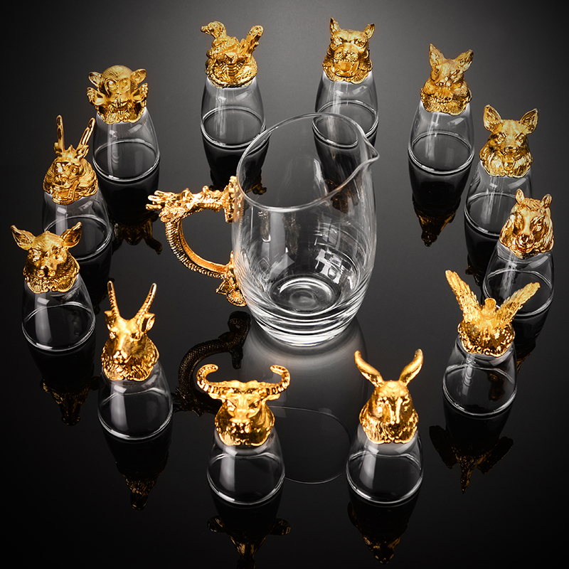 12只十二生肖白酒杯套装分酒器水晶玻璃中式酒具小酒杯一口杯家用 Изображение 1