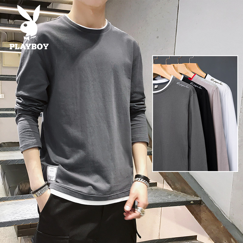 Playboy long sleeve t-shirt men's 2020 spring fashion brand sweater loose bottomed shirt with clothes on the inside
