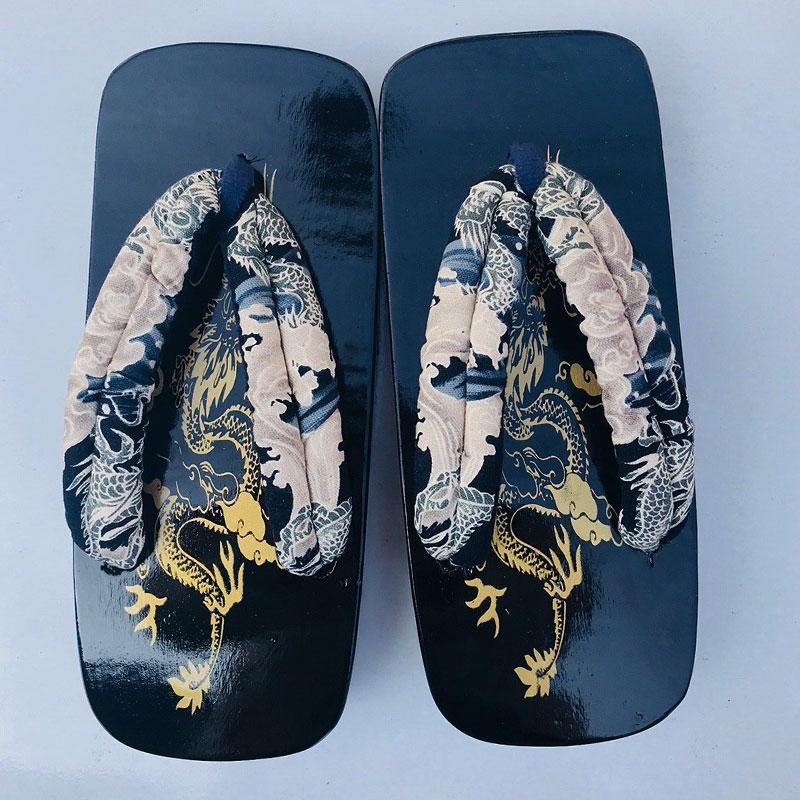 珍凡妮大码 夏季凉鞋日本男式男款cos黑漆方舟木屐拖鞋