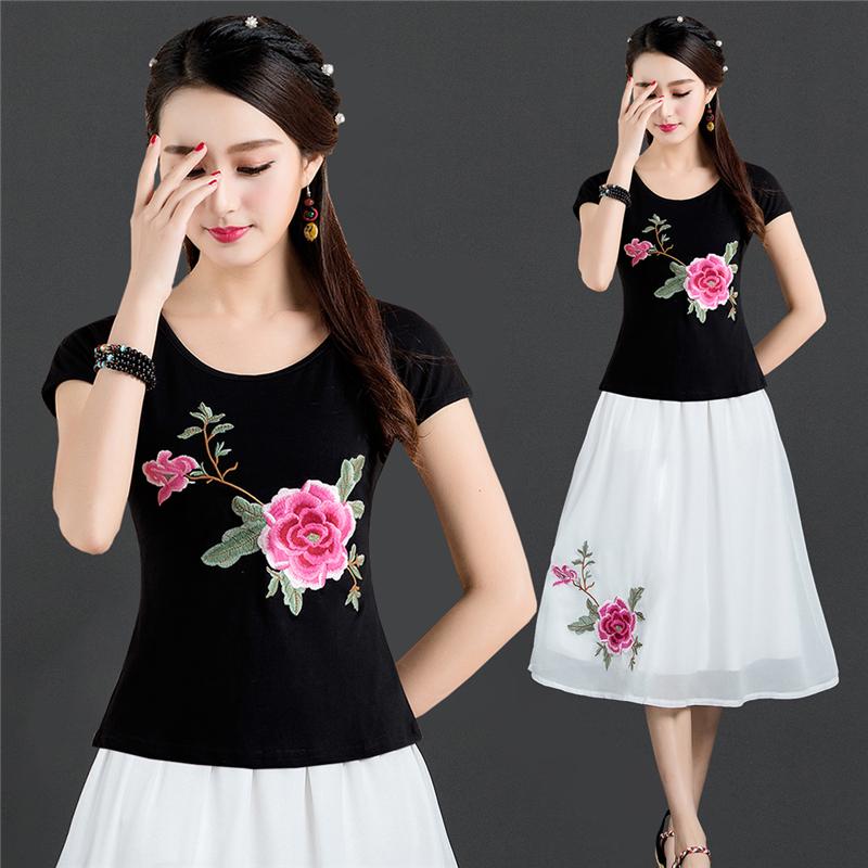 夏季新款中国风刺绣民族风棉打底衫