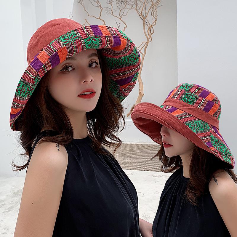民族风渔夫帽双面戴女士新款大檐遮阳帽可折叠文艺旅游度假防晒帽
