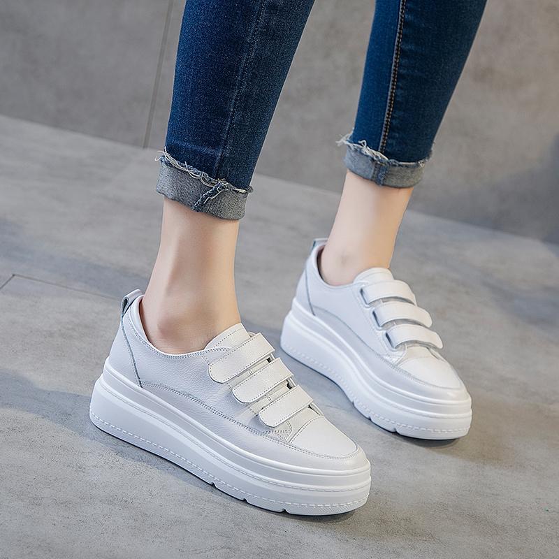 内增高小白鞋女2019夏款新款百搭透气真皮休闲厚底松糕魔术贴白鞋