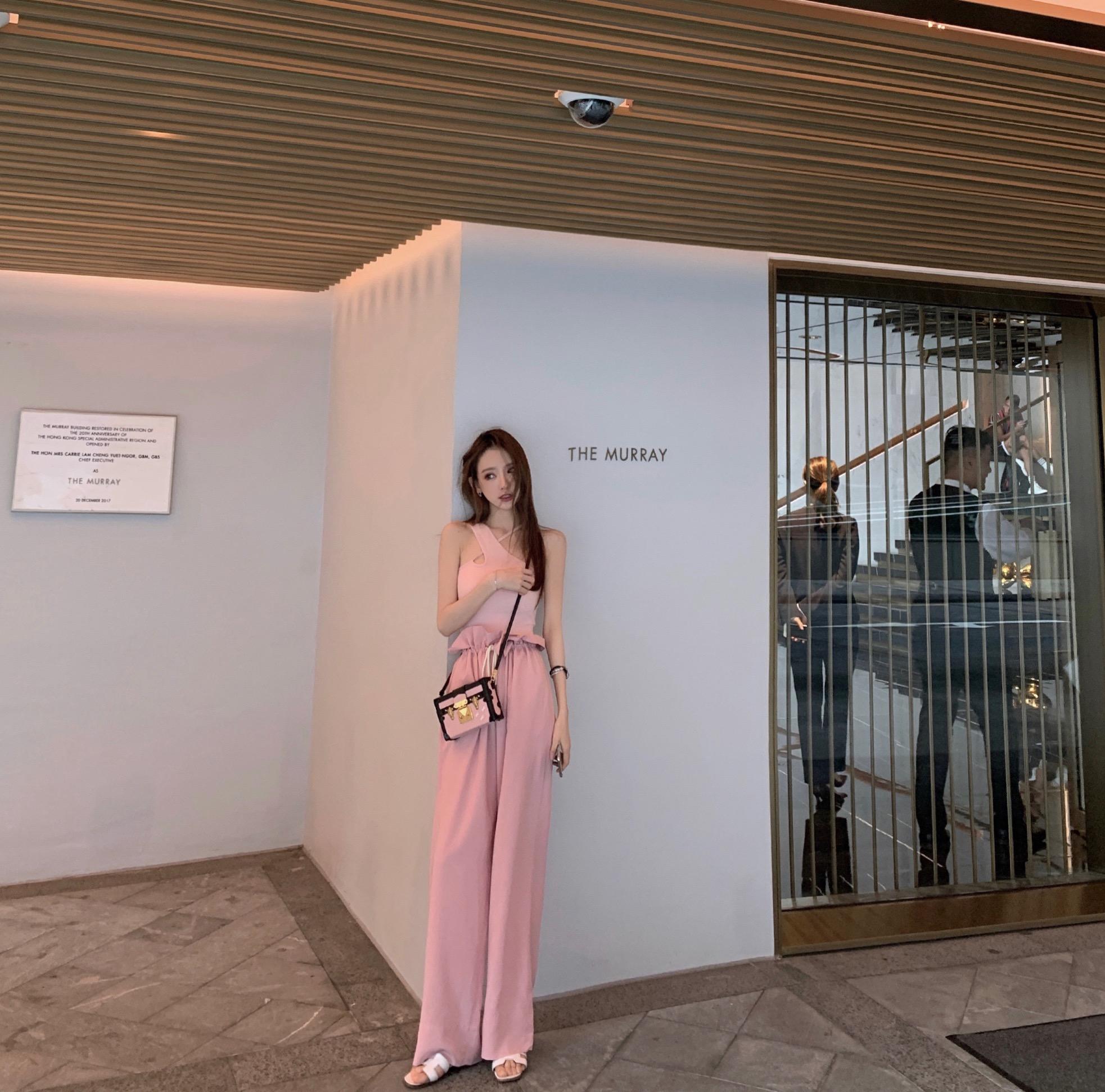 FBB李明萱2019夏季新款高腰直通花苞裤遮肉显瘦腿长休闲阔腿裤女 - 封面