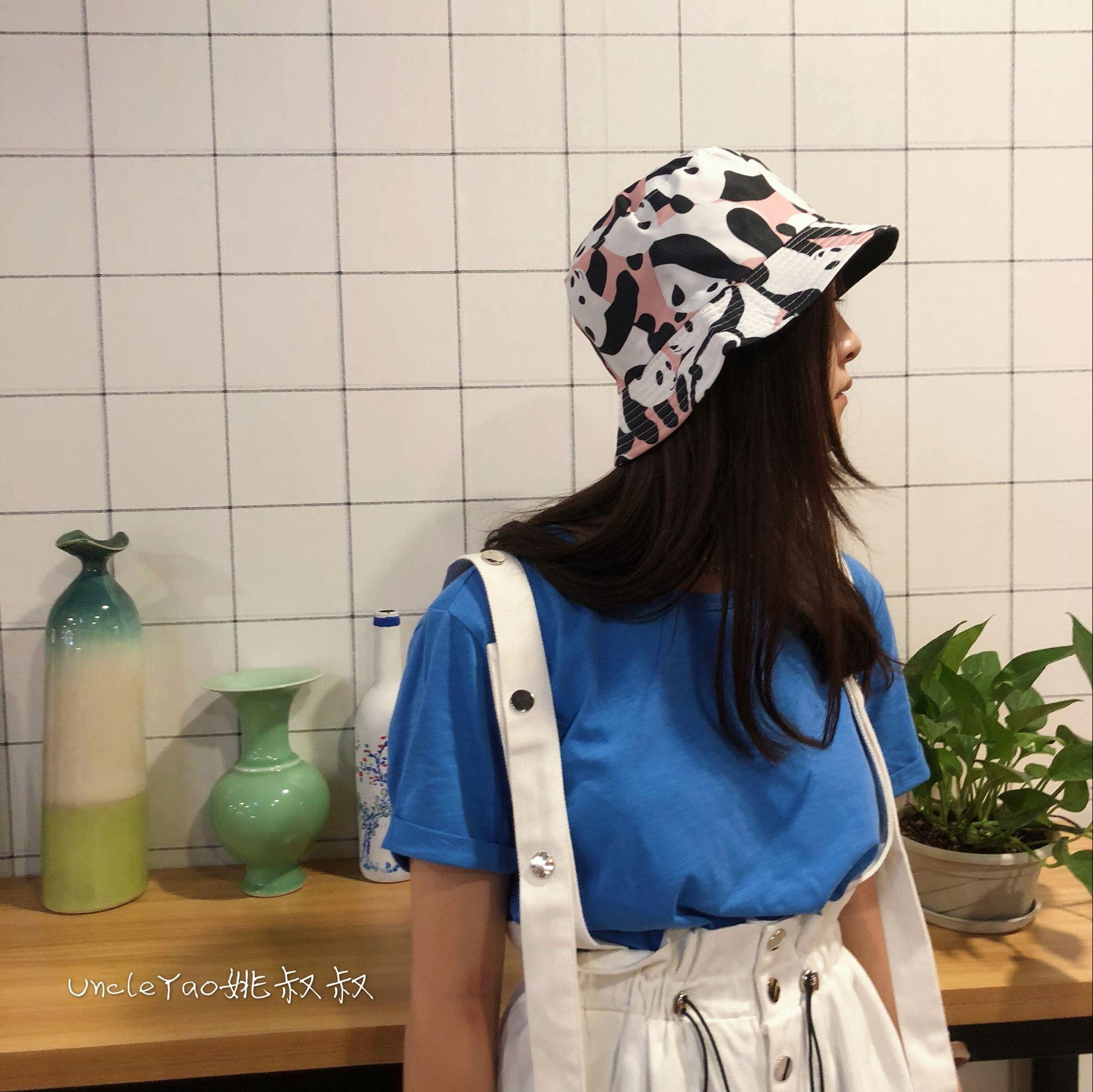 超可爱大熊猫图案印花渔夫帽日系百搭卡通盆帽子男女可折叠遮阳帽