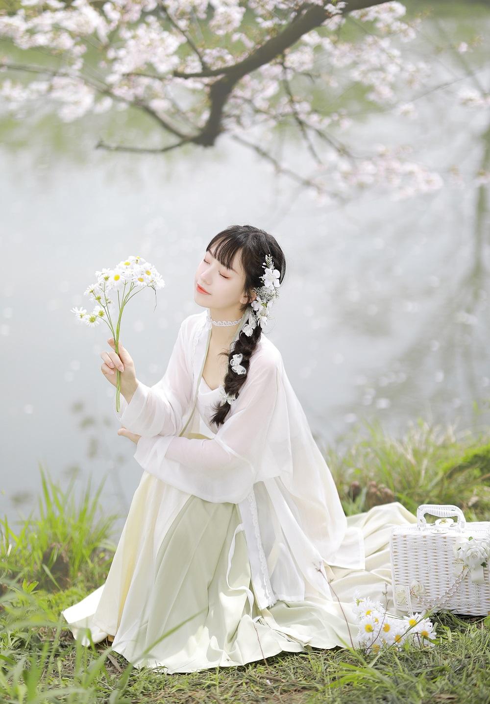 五五年原创  抹茶奶盖·豆沙红茶汉元素汉服女三件套对襟破裙夏