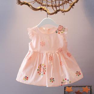 棉布裙子 夏装 百天新生儿韩版 3岁婴儿衣服女宝宝连衣裙无袖