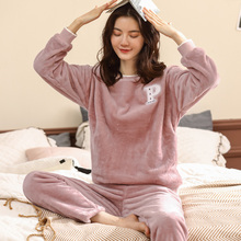Coral velvet pajamas women's winter thickening plus velvet sets of casual autumn and winter ladies flannel warm home service suit