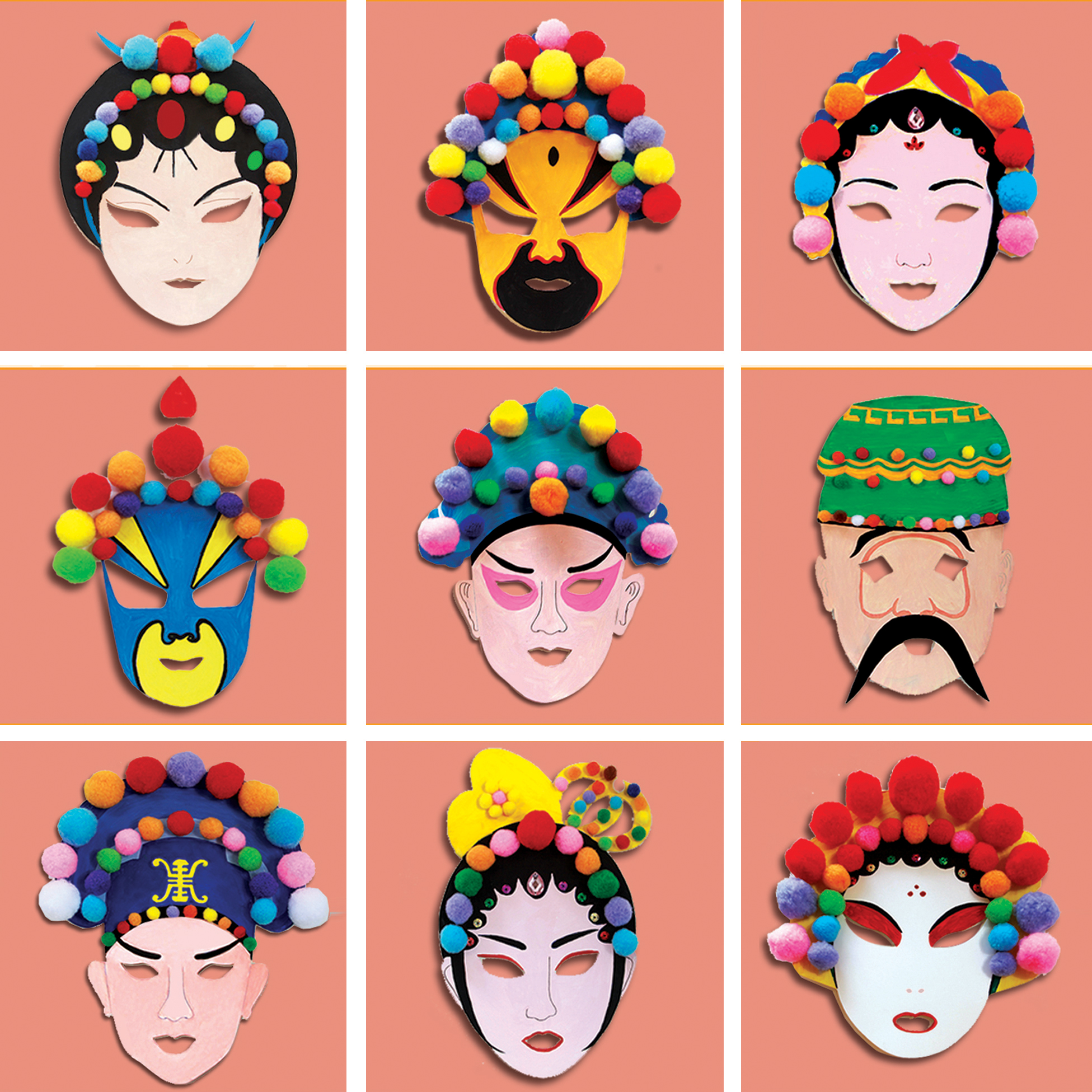 DIY пекинская опера facebook детский сад ручной работы пустой раскраска маска материалы единственный подлинный 1 крышка 10 модель 33 юань