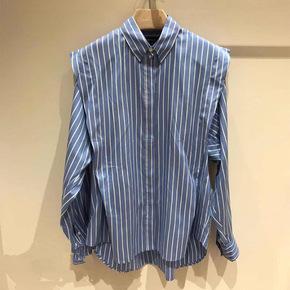 法国小众2021春夏新款拼色条纹气质单排扣 宽松长袖条纹衬衣女潮