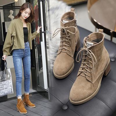 磨砂皮短靴女粗跟真皮2020秋冬季新款加绒马丁靴女英伦风高跟系带