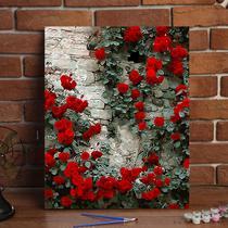 手繪裝飾油彩畫客廳水彩填充減壓大人手工填色畫易卓數字油畫diy