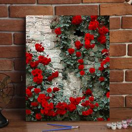 diy数字油画花卉风景手绘植物填色画客厅卧室装饰油彩画 玫瑰花墙图片