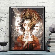 古典装饰画简美风别墅客厅沙发背景墙画手绘油画竖版玄关墙面挂画