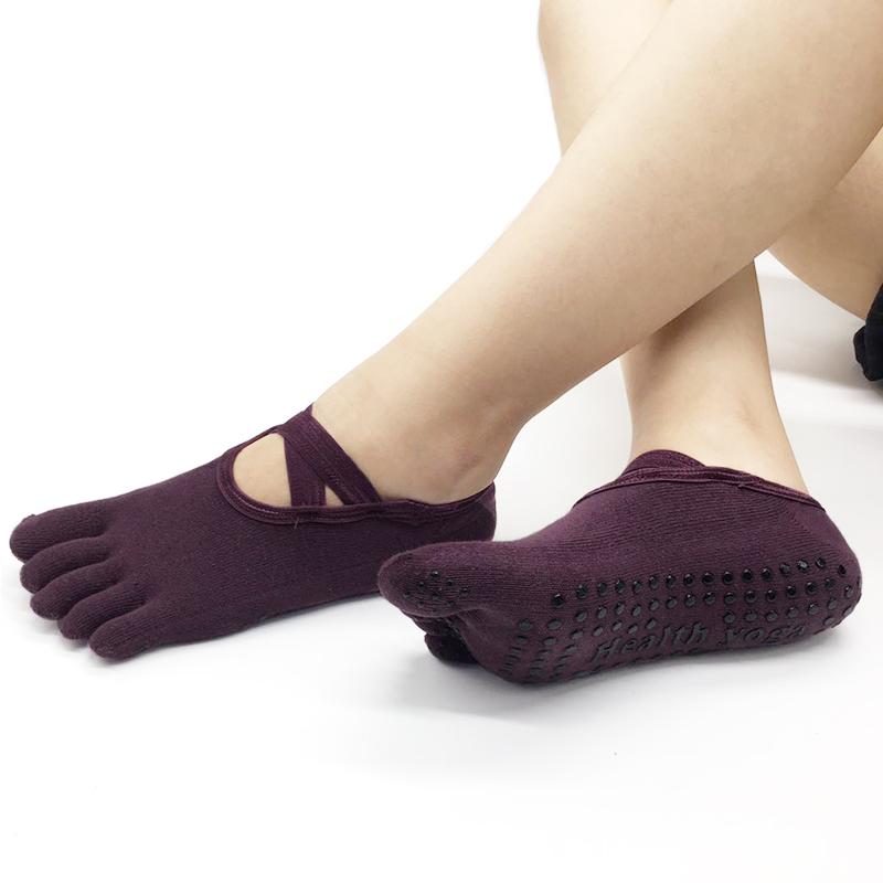 Г-жа профессионалы промышленность йога пять пальцев носки скольжение чулки для йоги хлопок воздухопроницаемый четыре сезона носок носок фитнес танец носок бесплатная доставка