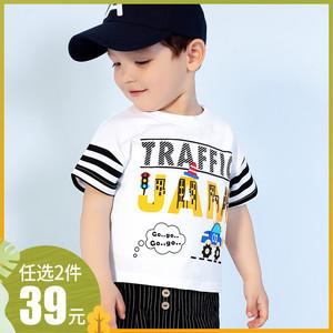 男童夏季新款时尚卡通T恤儿童装女童短袖套头衫宝宝休闲半袖上衣