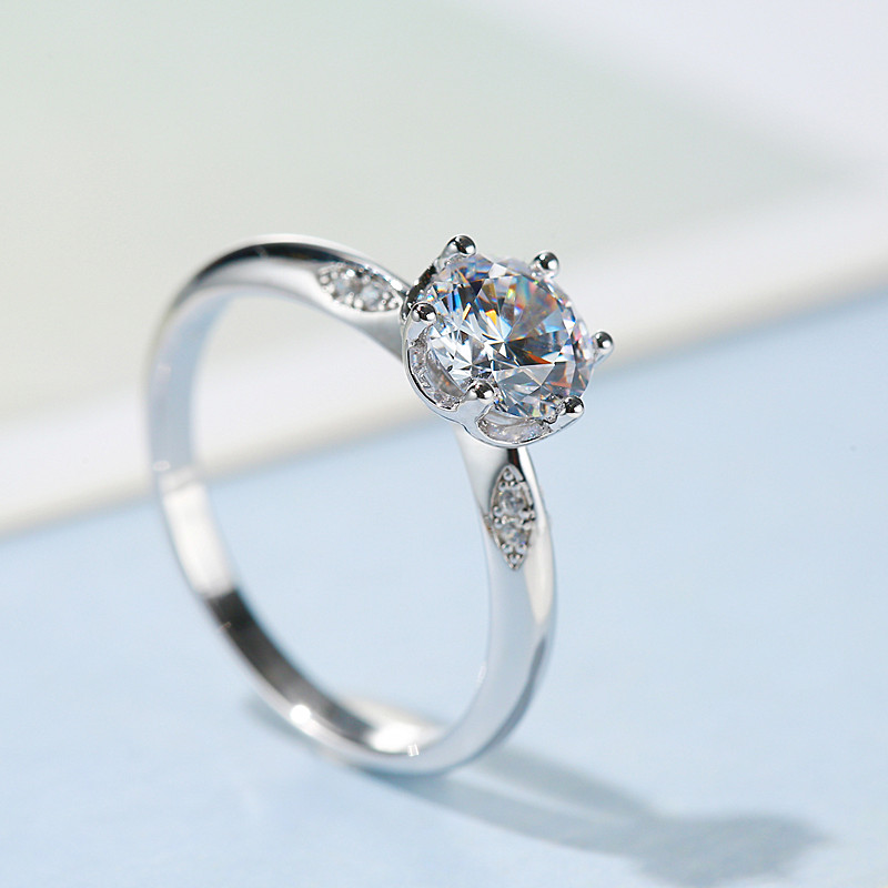 Mosang stone diamond ring female 1 carat S925 sterling silver inlaid Engagement Wedding Couple ring channeling six claws simple