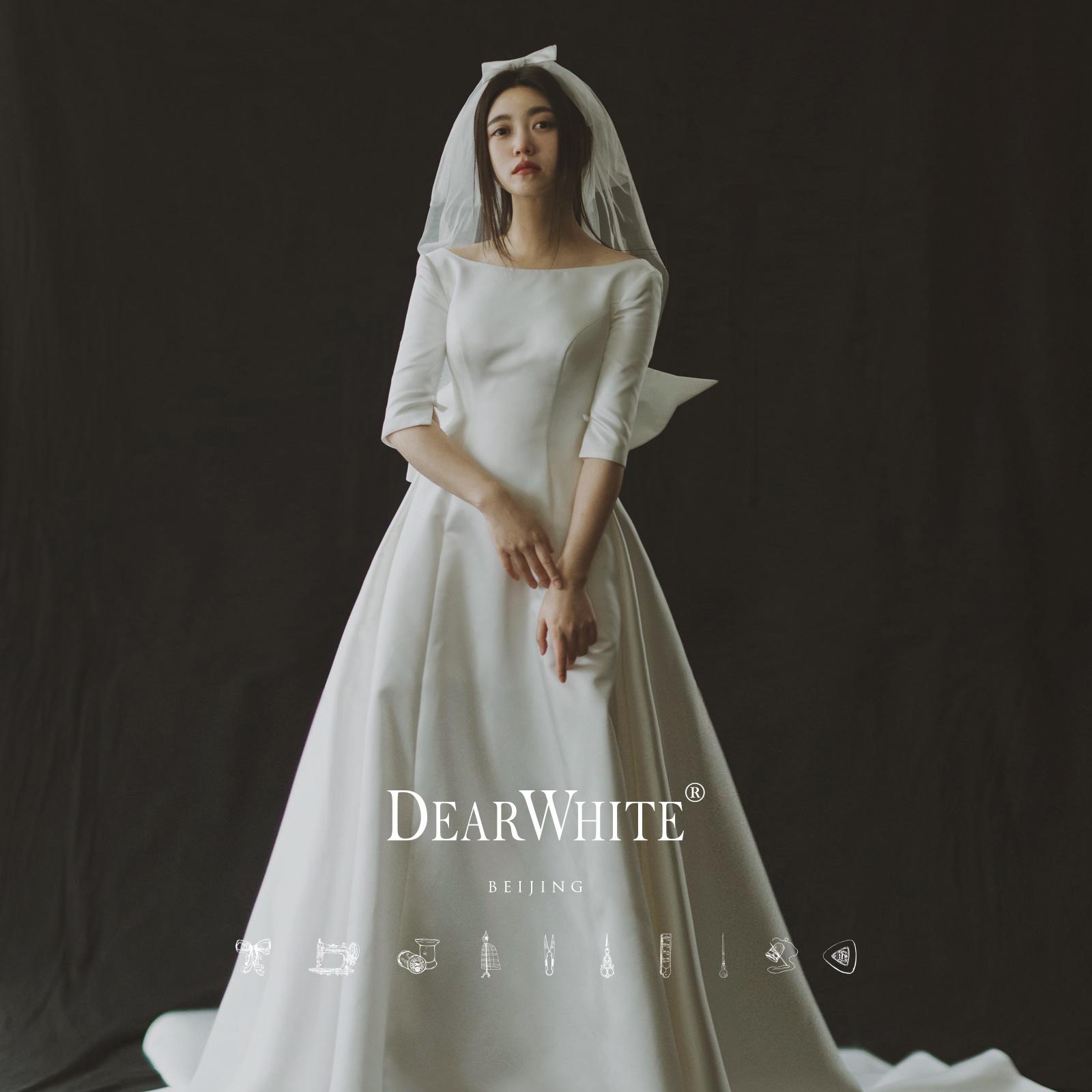 亲爱的白正品《千鸟》简约长袖抖音大拖尾梅根王妃哈里缎面婚纱