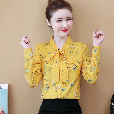 2020女式碎花雪纺衬衫长袖秋装宽松上衣服新款韩版时尚心机打底衫 - 封面