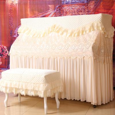圣曼妮钢琴罩全罩公主欧式蕾丝半罩简约布艺盖巾立式钢琴套防尘布