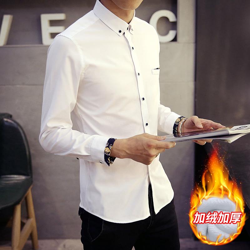 爆款冬季男士保暖衬衫韩版潮流印花加绒衬衣潮 2002-CS29加绒-P40