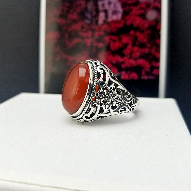 New Thai silver jewelry original retro S925 Silver Red Agate Ring male domineering hip-hop trend ring