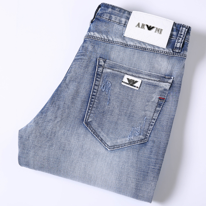 2021 Vintage European jeans slim fit small foot embroidery thin stretch casual pants mens light color pants summer