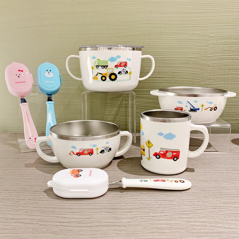 韩国原装进口 卡通汽车图案304不锈钢碗叉勺水杯儿童宝宝餐具限9000张券